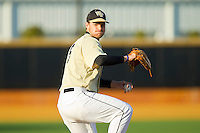 Wake Forest Demon Deacons starting pitcher Austin Stadler (9) in action against the North Carolina State Wolfpack at Wake Forest Baseball Park on March 15, 2013 in Winston-Salem, North Carolina.  The Wolfpack defeated the Demon Deacons 12-6.  (Brian Westerholt/Four Seam Images)