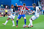 "Atletico de Madrid's player Kevin Gameiro and Deportivo de la Coruña's players Raul Albentosa and Luis ""Luisinho"" Carlos Correia during a match of La Liga Santander at Vicente Calderon Stadium in Madrid. September 25, Spain. 2016. (ALTERPHOTOS/BorjaB.Hojas)"