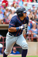 Bowling Green Hot Rods catcher Alexander Alvarez (4) runs to first base during a Midwest League game against the Wisconsin Timber Rattlers on July 22, 2018 at Fox Cities Stadium in Appleton, Wisconsin. Bowling Green defeated Wisconsin 10-5. (Brad Krause/Four Seam Images)