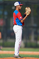 Daniel Hernandez (14) during the Dominican Prospect League Elite Florida Event at Pompano Beach Baseball Park on October 14, 2019 in Pompano beach, Florida.  (Mike Janes/Four Seam Images)