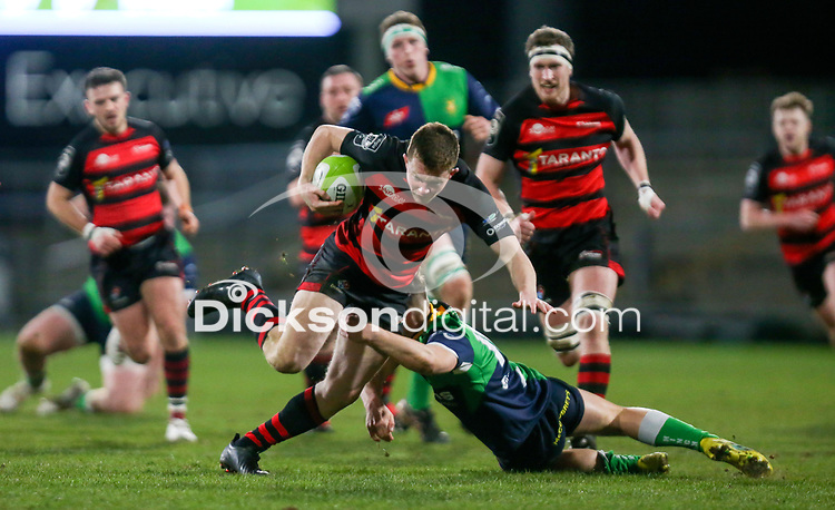 Friday 6th March 2020 | Armagh RFC vs Ballynahinch RFC<br /> <br /> Shea O'Brien on the attack for Armagh is tackled by Greg Hutley during the Bank Of Ireland Ulster Senior Cup Final between the City of Armagh RFC and Ballynahinch RFC at Kingspan Stadium, Ravenhill Park, Belfast, Northern Ireland. Photo by John Dickson / DICKSONDIGITAL