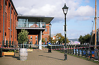 Pictured: The police scene at Swansea Marina, Wales, UK. Thursday 14 September 2017<br />Re: A body has been recovered from the water in Swansea Marina.<br />South Wales Police was called about a possible sighting of a body just after 13:30 on Thursday.<br />The emergency services were sent to the scene and a body was recovered a short time later.<br />No information about the person's gender or identity has been released.