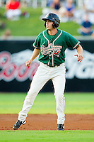 Austin Nola (16) of the Greensboro Grasshoppers takes his lead off of second base against the Lakewood BlueClaws at NewBridge Bank Park on August 18, 2012 in Greensboro, North Carolina.  The Grasshoppers defeated the BlueClaws 9-4.  (Brian Westerholt/Four Seam Images)