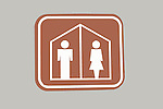 Sign for co-ed restroom.  Male and Female restroom sign on door.