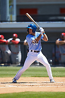 Colby Schultz (13) of the Burlington Royals at bat against the Greeneville Reds at Burlington Athletic Stadium on July 8, 2018 in Burlington, North Carolina. The Royals defeated the Reds 4-2.  (Brian Westerholt/Four Seam Images)