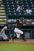 Bradenton Marauders Endy Rodriguez (5) bats during a game against the Daytona Tortugas on June 9, 2021 at LECOM Park in Bradenton, Florida.  (Mike Janes/Four Seam Images)