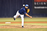 Asheville Tourists pitcher Jacob Bosiokovic (35) delivers a pitch during a game against the Charleston RiverDogs at McCormick Field on May 23, 2019 in Asheville, North Carolina. The RiverDogs defeated the Tourists 7-5. (Tony Farlow/Four Seam Images)
