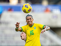 ORLANDO, FL - FEBRUARY 18: Beatriz #16 of Brazil heads the ball during a game between Argentina and Brazil at Exploria Stadium on February 18, 2021 in Orlando, Florida.