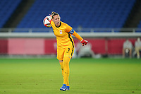 YOKOHAMA, JAPAN - JULY 30: Goalkeeper Sari van Veenendaal #1 of the Netherlands directs her team during a game between Netherlands and USWNT at International Stadium Yokohama on July 30, 2021 in Yokohama, Japan.
