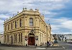 An pub building in the historic district of Oamaru on the east coast of the south island of New Zealand