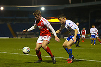 Fleetwood Town's Jack Sowerby (left) under pressured  during the The Checkatrade Trophy match between Bury and Fleetwood Town at Gigg Lane, Bury, England on 9 January 2018. Photo by Juel Miah/PRiME Media Images.