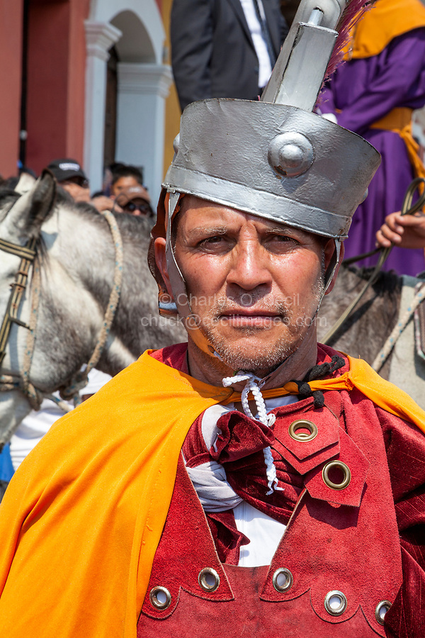Antigua, Guatemala.  A Roman Centurion, in a Semana Santa Procession.