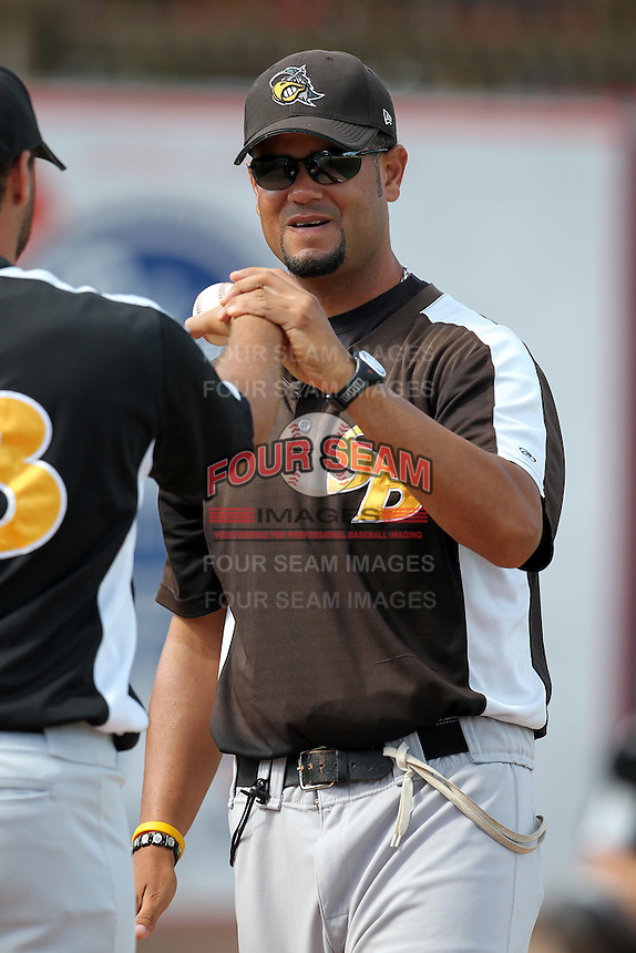 South Bend Silver Hawks pitching coach Welllington Cepeda during a game vs. the West Michigan Whitecaps at Fifth Third Field in Comstock Park, Michigan August 16, 2010.   West Michigan defeated South Bend 3-2.  Photo By Mike Janes/Four Seam Images