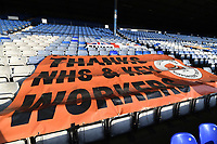 21st April 2021; Kenilworth Road, Luton, Bedfordshire, England; English Football League Championship Football, Luton Town versus Reading; Kenilworth Road stadium ahead of kick off. A banner thanking the NHS and Key workers.