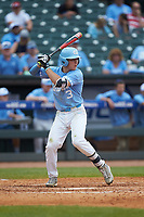 Kyle Datres (3) of the North Carolina Tar Heels at bat against the Florida State Seminoles in the 2017 ACC Baseball Championship Game at Louisville Slugger Field on May 28, 2017 in Louisville, Kentucky. The Seminoles defeated the Tar Heels 7-3. (Brian Westerholt/Four Seam Images)