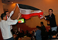 "Palestinians encourage the Egyptian team football in the final match between Egypt and Cameroon in the African Nations Championship February 10, 2008, at a time when the Israeli army besieged the Gaza Strip after the closure of the wall between the occupied Palestinian territories and Egypt.""photo by Fady Adwan"""