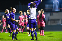 Laura De Neve (8) of Anderlecht pictured celebrating with teammate Laura Deloose (14) of Anderlecht after scoring a goal during a female soccer game between RSC Anderlecht Dames and Sporting Charleroi on the 13 th matchday of the 2020 - 2021 season of Belgian Womens Super League , friday 5 th of February 2021  in Tubize , Belgium . PHOTO SPORTPIX.BE | SPP | DAVID CATRY