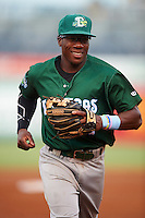 Daytona Tortugas second baseman Shed Long (13) jogs to the dugout during a game against the Tampa Yankees on August 5, 2016 at George M. Steinbrenner Field in Tampa, Florida.  Tampa defeated Daytona 7-1.  (Mike Janes/Four Seam Images)