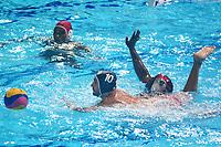 BARRANQUILLA - COLOMBIA, 26-07-2018: JIMENEZ Rigel (Cuba) y THOMAS Kris N. (Trinidad y Tobago) durante su participación en la polo acuático masculino como parte de los Juegos Centroamericanos y del Caribe Barranquilla 2018. /  JIMENEZ Rigel (Cuba) y THOMAS Kris N. (Trinidad y Tobago) during his participation in men's waterpolo of the Central American and Caribbean Sports Games Barranquilla 2018. Photo: VizzorImage / Alfonso Cervantes / Cont