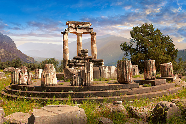 The circular Delphi Tholos temple with Doric columns, 380 BC, Sanctuary of Athena Pronaia, Delphi Archaeological Site,  Greece