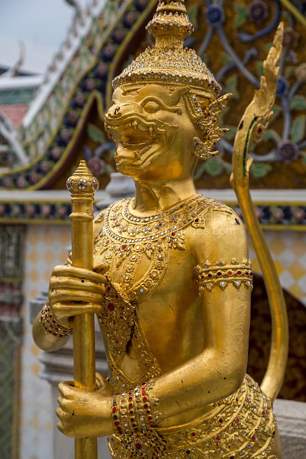 Bangkok, Thailand.  Guardian Statue Singhapanorn, Royal Grand Palace.