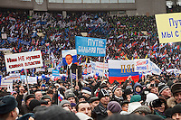 Moscow, Russia, 23/02/2012..Some 130,000 people attend a rally at Luzhniki sports stadium supporting Prime Minister Vladimir Putin's presidential election campaign.