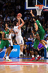 Real Madrid's player Jonas Maciulis and Unicaja Malaga's player Jeff Brooks, Oliver Lafayette and Dani Diez during match of Liga Endesa at Barclaycard Center in Madrid. September 30, Spain. 2016. (ALTERPHOTOS/BorjaB.Hojas)