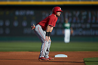Stephen Pitarra (7) of the North Carolina State Wolfpack takes his lead off of second base against the Charlotte 49ers at BB&T Ballpark on March 29, 2016 in Charlotte, North Carolina. The Wolfpack defeated the 49ers 7-1.  (Brian Westerholt/Four Seam Images)