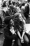 Anti Nazi League demonstration Brick Lane area London 1978.<br /> Two young women attend a SWP Socialist Workers Party demonstration in the east end of London against the National Front and racism. This was a regular weekly demo at the north end of  Brick lane in the summer of 1978.