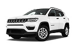 Stock pictures of low aggressive front three quarter view of a 2017 Jeep Compass Sport 2wd 5 Door SUV