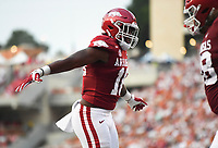 Arkansas wide receiver Treylon Burks (16) reacts, Saturday, September 11, 2021 during the first quarter of a football game at Reynolds Razorback Stadium in Fayetteville. Check out nwaonline.com/210912Daily/ for today's photo gallery. <br /> (NWA Democrat-Gazette/Charlie Kaijo)