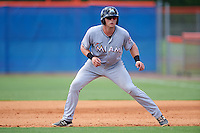 GCL Marlins catcher Matthew Foley (26) leads off first during a game against the GCL Mets on August 12, 2016 at St. Lucie Sports Complex in St. Lucie, Florida.  GCL Marlins defeated GCL Mets 8-1.  (Mike Janes/Four Seam Images)
