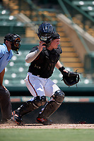 GCL Orioles catcher Harris Yett (17) during a Gulf Coast League game against the GCL Red Sox on July 29, 2019 at Ed Smith Stadium in Sarasota, Florida.  GCL Red Sox defeated the GCL Pirates 9-1.  (Mike Janes/Four Seam Images)