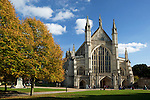 Great Britain, Hampshire, Winchester: West facade of Winchester Cathedral in Autumn, completed by the Normans around 1093