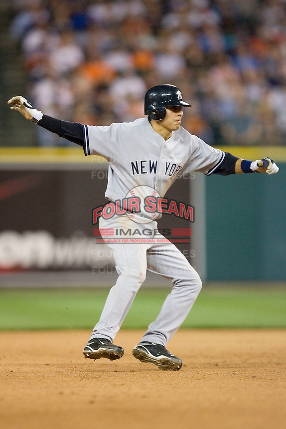 Ramiro Pena #19 of the New York Yankees takes his lead off of second base against the Detroit Tigers at Comerica Park April 27, 2009 in Detroit, Michigan.  Photo by Brian Westerholt / Four Seam Images