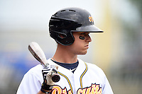 Montgomery Biscuits third baseman Richie Shaffer (12) on deck during a game against the Mississippi Braves on April 22, 2014 at Riverwalk Stadium in Montgomery, Alabama.  Mississippi defeated Montgomery 6-2.  (Mike Janes/Four Seam Images)