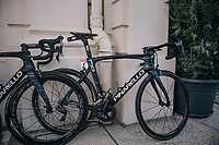 As the the stage start is only a few 100 meters away, the (team SKY) rider's bikes are stalled in the team hotel entrance; out of their rooms & onto their bikes... <br /> Here Chris Froome's (GBR/SKY) race machine<br /> <br /> 104th Tour de France 2017<br /> Stage 5 - Vittel › La Planche des Belles Filles (160km)