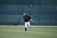 GCL Marlins outfielder Victor Mesa Jr. (9) catches a fly ball during a Gulf Coast League game against the GCL Astros on August 8, 2019 at the Roger Dean Chevrolet Stadium Complex in Jupiter, Florida.  GCL Marlins defeated GCL Astros 5-4.  (Mike Janes/Four Seam Images)