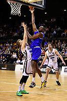Romaro Gill of the Wellington Saints shoots the ball during the round one NBL match between the Wellington Saints and the Canterbury Rams at TSB Bank Arena, Wellington, New Zealand on Friday 30 April 2021.<br /> Photo by Masanori Udagawa. <br /> www.photowellington.photoshelter.com