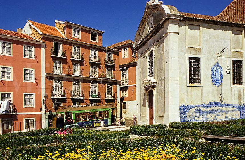 Lisbon, Portugal. Santa Luzia belvedere and tram. Miradouro de Santa Luzia and Church of Santa Luzia. Alfama..