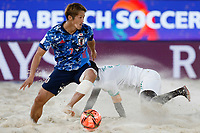 28th August 2021; Luzhniki Stadium, Moscow, Russia: FIFA World Cup Beach Football tournament; Semi final match Japan versus Senegal:  Japan's Takaaki Oba competes with Babacar Fall of Senegal, during the match between Japan and Senegal