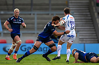 21st August 2020; AJ Bell Stadium, Salford, Lancashire, England; English Premiership Rugby, Sale Sharks versus Exeter Chiefs; Lood de Jager of Sale Sharks tackles Ian Whitten of Exeter Chiefs