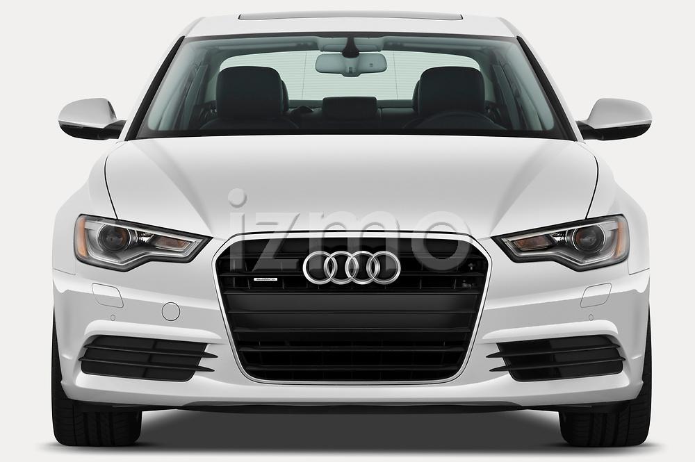 Car photography straight front view of a 2012-2014 Audi A6  Premium Plus 4 Door Sedan