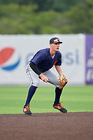 Connecticut Tigers shortstop Ryan Kreidler (12) during a NY-Penn League game against the Auburn Doubledays on July 12, 2019 at Falcon Park in Auburn, New York.  Auburn defeated Connecticut 7-5.  (Mike Janes/Four Seam Images)