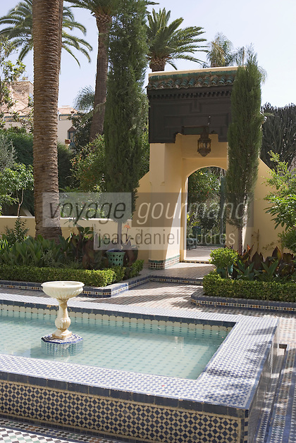 Afrique/Afrique du Nord/Maroc/Fèz: Hotel Palais Jamai détail des jardins andalous