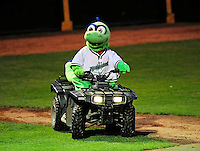 """22 June 2009: Vermont Lake Monsters' mascot """"Champ"""" entertains the crowd at a game against the Tri-City ValleyCats at Historic Centennial Field in Burlington, Vermont. The Lake Monsters defeated the visiting ValleyCats 5-4 in extra innings. Mandatory Photo Credit: Ed Wolfstein Photo"""