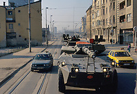 - Centauro armored car of the Italian army enter in Sarajevo during NATO intervention in Bosnia of January 1996....- autoblindo Centauro dell'esercito italiano entrano a Sarajevo durante l'intervento NATO in Bosnia del gennaio 1996