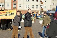 Zum 75. Jahrestag der Reichspogromnacht marschierten bis zu 200 Neonazis von der NPD durch die mecklenburgische Kleinstadt Friedland und protestierten gegen ein geplantes Fluechtlingsheim.<br />Mehrere hundert Gegendemonstranten demonstrierten lautstark gegen den Aufmarsch.<br />Links: Hannes Welchar.<br />Rechts neben Welchar: Michael Gielnik, Heimatbund Pommern e.V.<br />9.11.2013, Berlin<br />Copyright: Christian-Ditsch.de<br />[Inhaltsveraendernde Manipulation des Fotos nur nach ausdruecklicher Genehmigung des Fotografen. Vereinbarungen ueber Abtretung von Persoenlichkeitsrechten/Model Release der abgebildeten Person/Personen liegen nicht vor. NO MODEL RELEASE! Don't publish without copyright Christian Ditsch/version-foto.de, Veroeffentlichung nur mit Fotografennennung, sowie gegen Honorar, MwSt. und Beleg. Konto:, I N G - D i B a, IBAN DE58500105175400192269, BIC INGDDEFFXXX, Kontakt: post@christian-ditsch.de.<br />Urhebervermerk wird gemaess Paragraph 13 UHG verlangt.]
