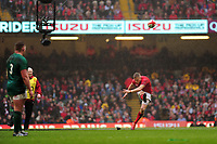 Pictured: Gareth Anscombe of Wales kicks a penalty during the Guinness six nations match between Wales and Ireland at the Principality Stadium, Cardiff, Wales, UK.<br /> Saturday 16 March 2019