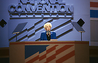Oscar Award-winning actress Olympia Dukakis, makes remarks supporting her cousin, Governor Michael Dukakis (Democrat of Massachusetts), the 1988 Democratic Party nominee for President of the United States, at the 1988 Democratic National Convention in the Omni Coliseum in Atlanta, Georgia on July 21, 1988.<br /> Credit: Howard L. Sachs / CNP / MediaPunch